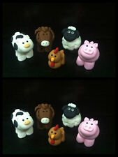10 Edible farm barn horse, brown chicken, cow, pig,sheep cake cupcake topper