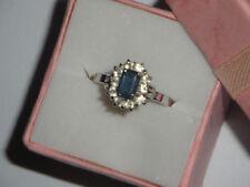 Anello vintage Argento 800 massiccio italiano cristallo blu zaffiro regolabile