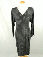 Ladies Dress Size 14 JAEGER Black White Spotted Shift Office Work Day Party