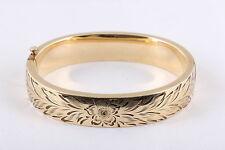 Antique BURT CASTED 14K GOLD FILLED CUFF BRACELET W/ ETCHED DESIGN  2660