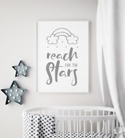 Reach For The Stars Baby Unisex Grey Nursery Print Kid Room Wall Art Picture