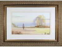 Horse Rider Autumn Landscape' - Watercolour painting, original signed gilt frame