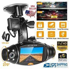 Fhd 1080P Dual Lens Camera Car Dvr Dash Cam Video Recorder Night Vision G-Sensor