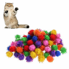 100Pc Colorful Sparkly Glitter Tinsel Pompom Balls Small Pom Ball Pet Cat Toys