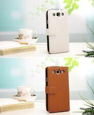 Luxus HTC One X   Tasche Schutz Hülle  Case Cover Etui Braun Weiß