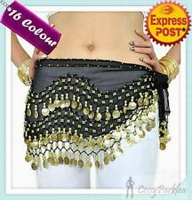3 Rows Belly Dance Hip Scarf Belt Chain Skirt Golden Silver Tone 128 Coins Beads