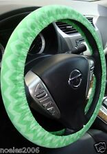 Handmade Steering Wheel Cover Shades of Bright Green Chevron Zig Zag
