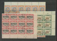 NIUE 1950 SCENES 1/2d 1d 2d CTO F.USED BLOCKS 72 stamps