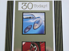 SUPER COLOURFUL RACING SPORTS CARS 30 TODAY 30TH BIRTHDAY GREETING CARD