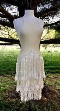 NEW Free People IFP ivory Knit Flapper Sequin Fringe Sweater Tunic Slip Dress XS