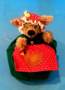 """DEB CANHAM """"WOLF/GRANDMA"""" TOPSY-TURVY MOHAIR 4"""" -JOINTED ARMS/HEADS"""