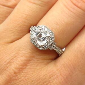 925 Sterling Silver C Z Asscher-Cut Engagement Ring Size 8