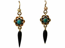 Turquoise & Enamel. 18ct Yellow Gold Earrings - Antique Circa 1890