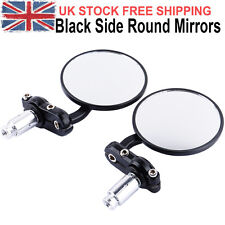 "22mm MOTORCYCLE BAR END MIRRORS BLACK BIKE/MOTORBIKE REARVIEW 7/8"" UNIVERSAL UK"