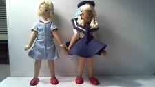 "2 Vintage Wood Wooden 7"" Polish Dolls Jointed Folk Art Dolls Nurse Sailor Poland"