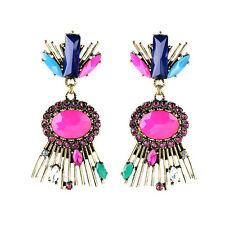 orecchini Clip Pinze Pendente Dorato Goccia Art Deco Rosa Blu Verde X10