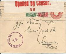 KING GEORGE V censurata CARTOLERIA postale Cover con 1D + 1/2 D per l' Olanda 343