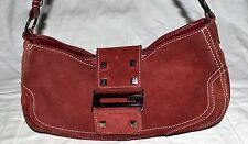 GUESS Burgundy Suede with White Stitching & Faux Leather Trim Shoulder Bag