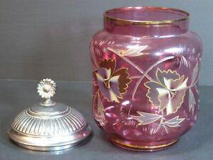 "Antique Moser Victorian Cracker/Biscuit Jar Enamel Cranberry Art Glass 8"" Floral"