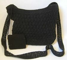 Black Shoulder Bag Coin Purse Handmade Crocheted Knit Tote Handbag Fabric Lined