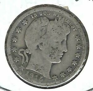 1915 Philadelphia Circulated Silver Business Strike Barber Quarter Coin!