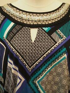 Sandra Darren Blue Patterned Dress Size 10