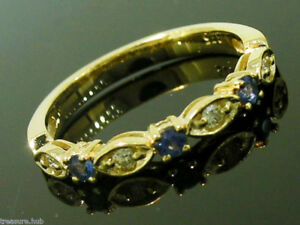 R103 Genuine 9K 9ct Solid Gold Natural Sapphire & Diamond Eternity Ring Trilogy