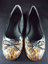 A2 By Aerosoles Black/Brown Leopard Ballet Flats Slip On Shoes W/Bow Size 9.5