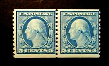 1919 US S# 496,  5c Washington, blue MNH OG 2v   Pair  vg+