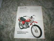 1970  HONDA SL-100  MOTOSPORT Model Cycle Sales Brochure COLOR RECOPY
