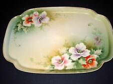 ANTIQUE NIPPON VANITY DRESSER/Pin TRAY Hand Painted FLOWERS & GOLD GILD