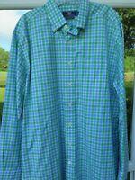 Vineyard Vines Men's Cotton Green Blue White Checks Murray Casual Shirt Large