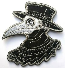 """Steam Punk Raven Skeleton Top Hat Pagan Embroidered Patch Iron On Skull 2.75"""""""