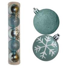 Christmas Decoration 5 Pack 60mm Snowflake & Glitter Baubles - Ice Blue