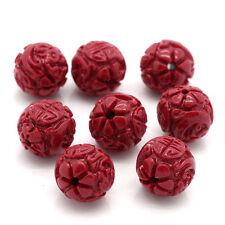 """10 Perles Corail synthétique Motif Fleur Dragon Rouge 11mm Dia.(3/8"""") B24382"""