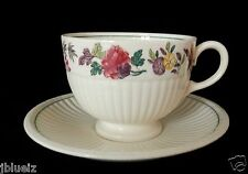 Vintage Wedgwood Etruria England Edme Wildflower Footed Cup & Saucer