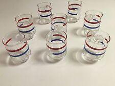 "AMERICAN'S BICENTENNIAL 1776/1976 - RED & BLUE TUMBLER GLASSES - 3-1/2""-  8 TOTA"