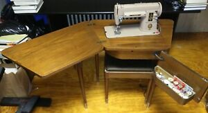 Singer electric sewing machine/cabinet/seat model 301A works Mid Century Modern