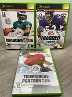 Xbox Game Lot Of 3 Madden NFL 2005 & 2006, Tiger Woods PGA Tour 06 Free Shipping