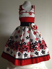 Girls Red Dress Size 4 Floral Birthday Pageant Wedding Handmade 100% Cotton