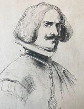 Diego Vélasquez dessin plume XIXe anonyme peintre baroque Espagnol Espagna