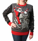Ugly Christmas Sweater Plus Size Women's Live To Ride Santa Pullover Sweatshirt