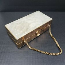 Vintage 1960s Lucite Evening Box Purse Pearlized White Gold Accenting