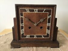 Unusual Striking Mantle Clock. Oak. No Glass Or Bezel. Marquetry Numbers.