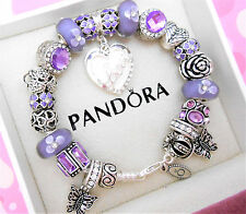 Authentic Pandora Silver Charm Bracelet With Purple Love European Charms