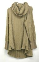 Suzanne Betro Womens Solid Tan Ribbed Sweater Cowl Neck Long Sleeves Size 1X