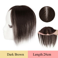 100% Human Hair Mono Straight Clip in Frontal Topper Hairpiece Toupee Women