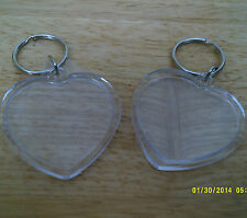 KEYRINGS TO PUT A SMALL PHOTO IN heart shape pack of 2 size 40mm x 36mm