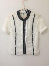 Dotti White Lace Short Sleeve Blouse Size Small