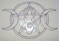 Wall Art Vinyl Sticker decal window bumper car decor door Goddess pentagram moon